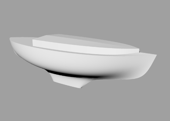 Perspective view of a 10 metre, 8 tonne generic double-ender sailboat hull with a medium fin keel.